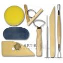 Set of pottery tools basic, 8 pcs, ZIP bag