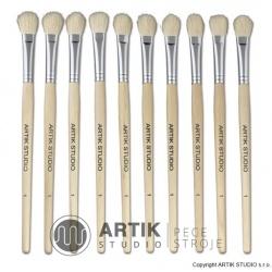 Set of small brushes nr. 1, 10 pcs, goat bristle